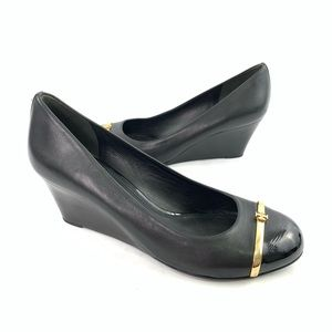 Tory Burch Wedge Sandals equestrian Calf Leather